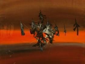 Sunset II. (1971)   Oil on Canvas   100 x 50 cm