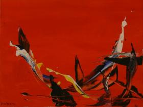 Red Abstraction II. (1988) | Acryl on Canvas | 35 x 45 cm