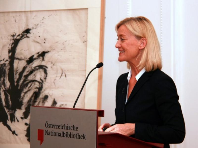 Dr. Johanna Rachinger, director of the Austrian National Library, delivers opening speech