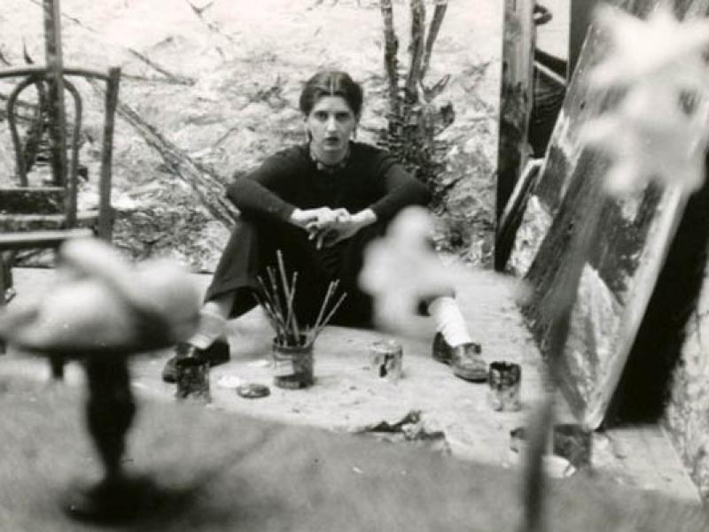 Soshana sitting in her studio   Paris 1956