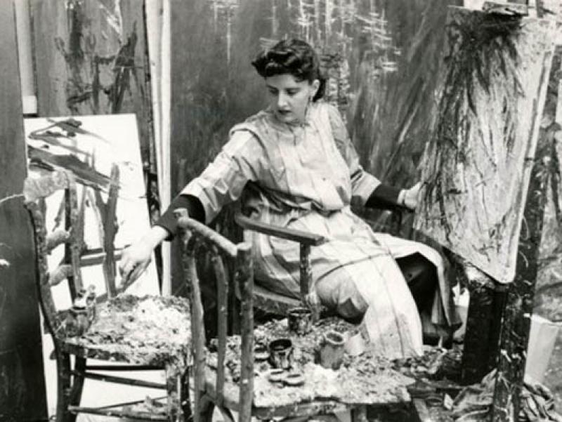 Soshana painting in her studio   Paris 1956