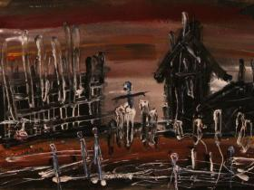 Death Camp (1989)   Oil on Paper   28 x 38 cm