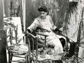 Soshana painting in her studio | Paris 1956