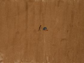 Execution in Kabul Football Stadium (2001)   Sand on Canvas   45 x 60 cm